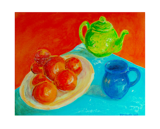 Satsumas with Small Gree Teapot and Small Blue Mug for Instagram